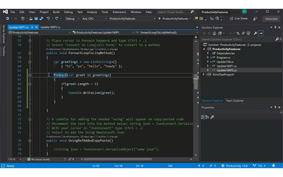 Visual Studio IDE code screenshot